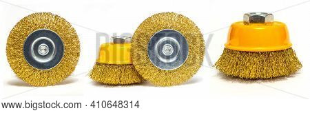 Set Of Abrasive Tools Yellow Colors On White Background Wizard Is Used For Grinding Items