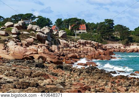 Ploumanach, France - September 5, 2019: This Is The Pink Granite Coast, Strewn With Orange-pink Gran