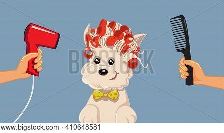 Cute Dog At Pet Spa Grooming Salon Vector Cartoon