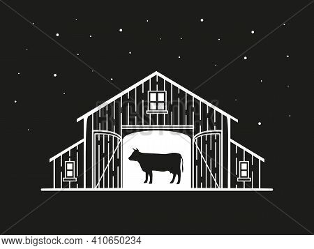 Night Illustration Of A Barn With A Cow Inside