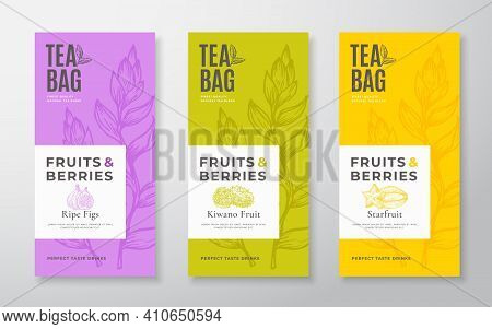 Exotic Fruits Tea Labels Set. Vector Packaging Design Layouts Bundle. Modern Typography, Hand Drawn