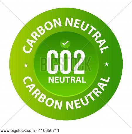 Carbon Neutral Vector Icon, Co2 Neutral Symbol Isolated On White Background