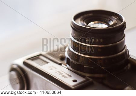 Retro Photo Camera Fed 5v, Soviet Rangefinder Camera With Emblem Of Xxii Olympic Games. Illustrative