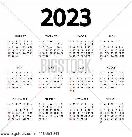 Calendar 2023 Year - Vector Illustration. The Week Starts On Sunday. Annual Calendar 2023 Template.