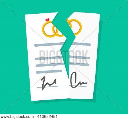 Breach Or Marriage Contract As Divorce Or Broken Prenuptial Agreement Vector Flat Cartoon Illustrati