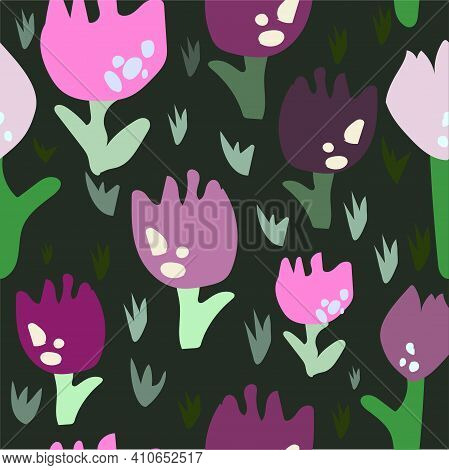 Tulip Floral Design  Repeating  Pattern Dark Background  Use For Fabric , Ribbons, Summer Décor, Gre