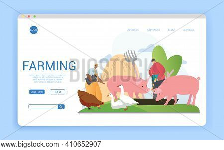 Website Template For Livestock Farming Or Agriculture With Farm Workers Feeding Assorted Farm Animal