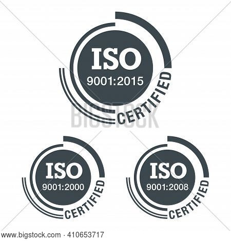 Iso 9001 Conformity To Standards Icon 2000, 2008 And 2015 Years Of Standardization - Flat Black Pict