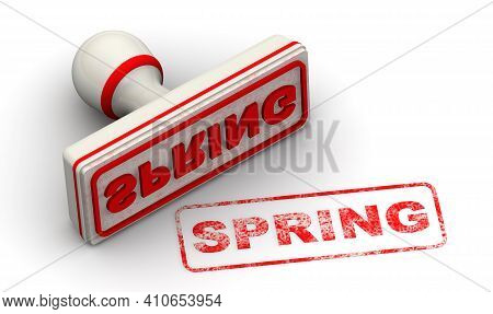 Spring. The Stamp And An Imprint. White Stamp And Red Imprint Spring On White Surface. 3d Illustrati