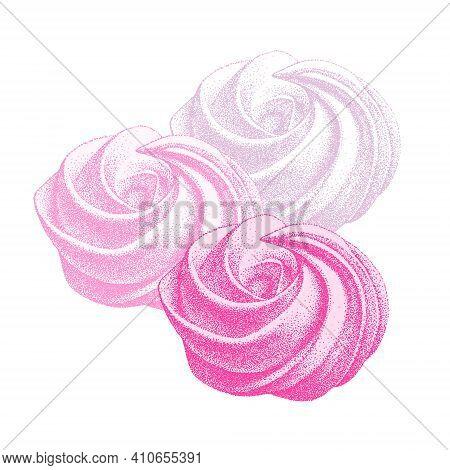 Set Of Airy French Pink Meringue, Marshmallow, Zefir. Sweetness, Sweet Cake, Dessert. Hand Drawn Vec