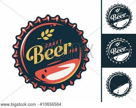 Set Of Emblem Or Logo With Craft Beer Metal Cork