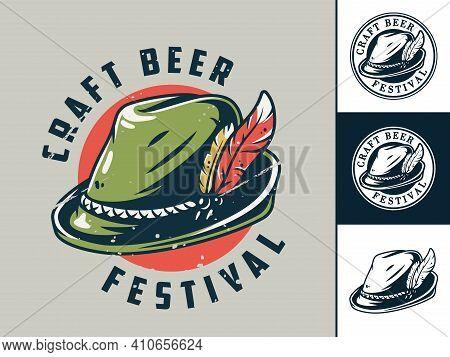 Set Of Print Or Emblem With Bavarian Hat For Fest