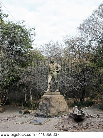 Monument To The Traveler D. Livingston Who Discovered Victoria Falls In Zimbabwe For Europeans. The