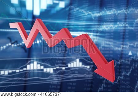 Falling Red Arrow On A Blurred Background Of Stock Quotes. Prolonged Price Declines, Bear Market Con