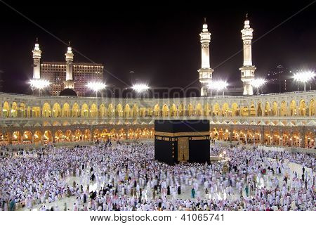 Kaaba in Mecca at Night