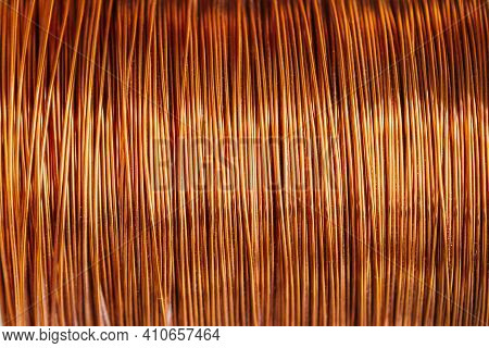 Copper Wire Spool, Bright Electrical Wiring Background