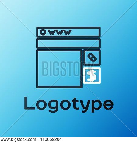 Line Buying Drugs Online Icon Isolated On Blue Background. Online Buying Symbol. Colorful Outline Co