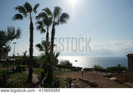 Tropical Seaside View And Palm Trees Over Blue Sea With Floating Yacht. Beautiful Landscape Of Coast