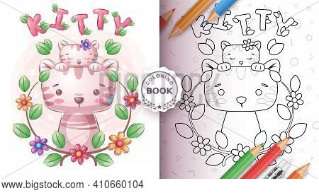 Cute Cat Family - Coloring Page. Vector Eps 10