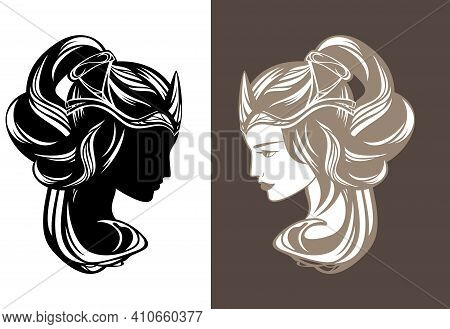 Beautiful Fairy Tale Queen Or Princess With Long Gorgeous Hair Wearing Crown - Fairy Tale Beauty Vec
