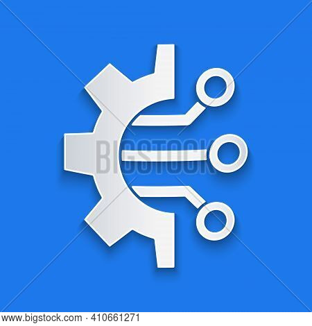 Paper Cut Algorithm Icon Isolated On Blue Background. Algorithm Symbol Design From Artificial Intell