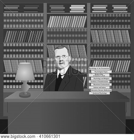 Portrait Of Carl Gustav Jung In The Library With His Own Books. Hand Drawn Illustration. Vector.