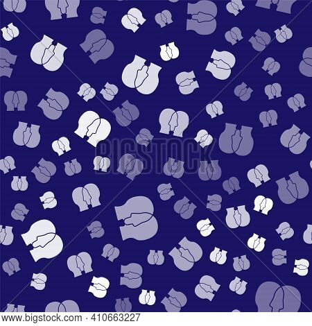 White Bipolar Disorder Icon Isolated Seamless Pattern On Blue Background. Vector