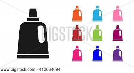 Black Plastic Bottle For Laundry Detergent, Bleach, Dishwashing Liquid Or Another Cleaning Agent Ico