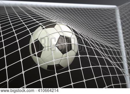 Soccer Ball, Scoring The Goal And Moving The Net. 3d Illustration, On Dark Background.