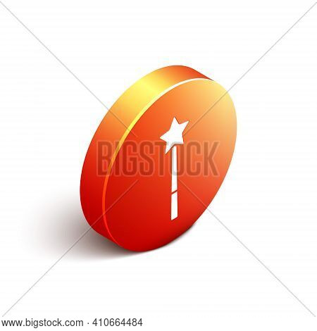 Isometric Magic Wand Icon Isolated On White Background. Star Shape Magic Accessory. Magical Power. O