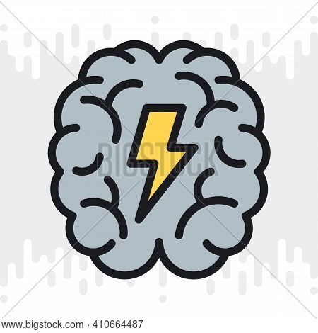 Brainstorm Or Brainstorming Icon. Human Brain With A Lightning Bolt Inside. Simple Color Version On
