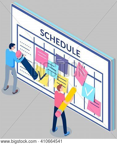 Business Planning And Scheduling Concept. Group Of Employee Stick Papers With Schedule For Week. Tim