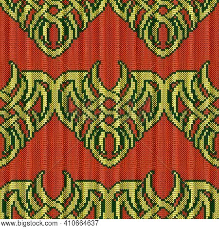 Ornate Seamless Knitted Vector Pattern As A Fabric Texture In Orange, Yellow And Green Colors