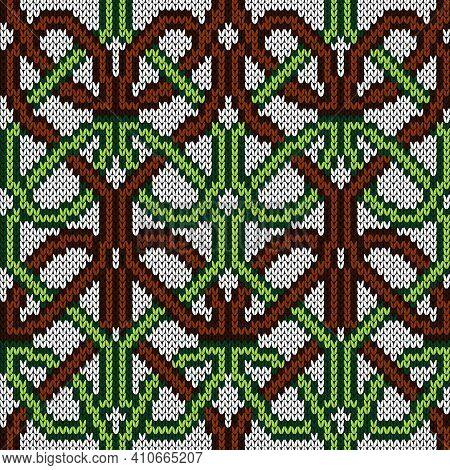 Ornamental Knitting Seamless Vector Pattern In Brown, Green And White Colors As A Fabric Texture
