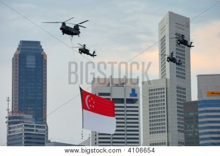 Chinook Flying Singapore Flag