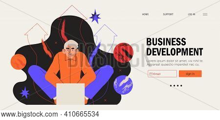 Businessman Sitting In Front Of Laptop Working On Project. Business Developement, Career Success Or