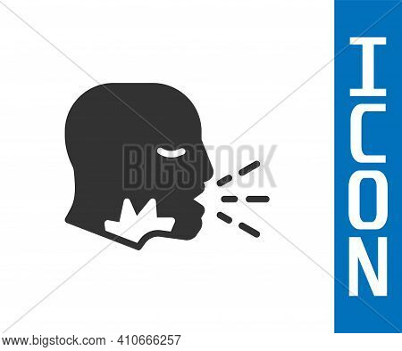 Grey Man Coughing Icon Isolated On White Background. Viral Infection, Influenza, Flu, Cold Symptom.