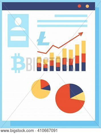 Bitcoin With Growth Graph And Charts. Financial Increase Of New Currency Innovative Money Concept. B