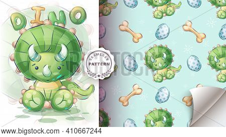 Cute Seat Dino - Seamless Pattern. Vector Eps 10
