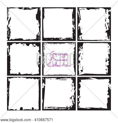 Black Square Grunge Frames Collection. Vintage Photo Frames Template Set. Vector Ink Messy Design Bo