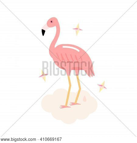 Pink Flamingo. Cute Comic Flamingo Bird On Cloud With Little Pink Poo. Vector Illustration In Trendy