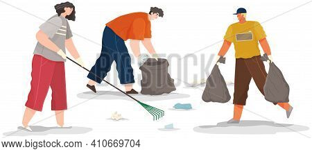 Volunteer People Are Cleaning Territory. People Volunteering Collect Garbage And Waste On Contaminat