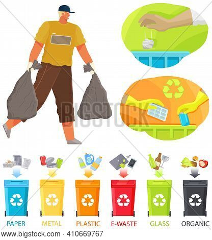 Volunteer Man Is Cleaning Territory. Guy Collects Rubbish On Contaminated Areas. Male Character Tran
