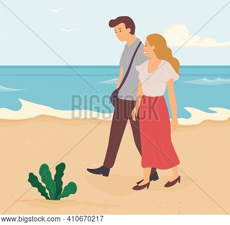 Cartoon Characters Are Walking On Seashore. People Spending Time Together On Beach. Young Couple In