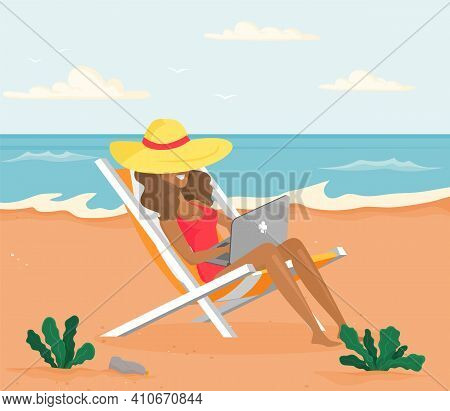 Recreation Near Sea Vector Illustration. Busy Girl Is Sitting In Sun Lounger And Working On Laptop R