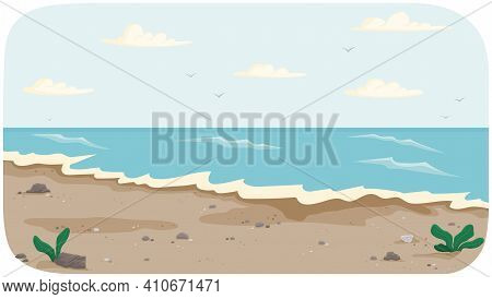 Coastline With Ocean At High Tide Vector Illustration. Seascape With Salty Water On Seashore. Water