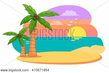 Palm Trees With Coconut On The Island Against The Sea And Lilac Sky With Clouds Vector Illustration.
