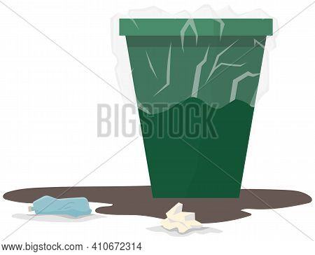 Waste Bin For Paper And Plastic Waste. Container For Trash Covered With Transparent Polyethylene. Gr