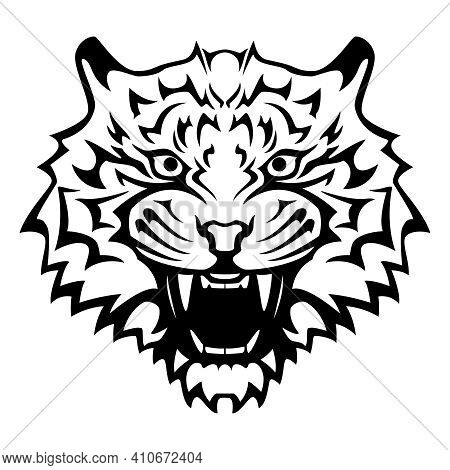 Tiger Head With An Open Mouth And Bared Fangs - Black And White Vector Tattoo Illustration