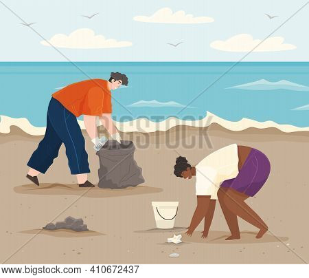 Ecology Problems And Global Pollution Concept. Volunteers Are Cleaning Beach. Couple Volunteering Co